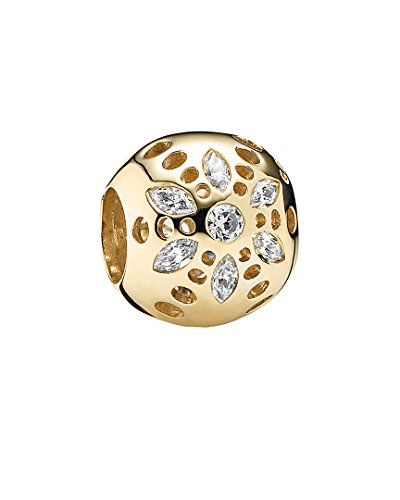 Yellow Gold Dora - PAN DORA Charm 14K Gold Sparkling Bloom with Clear CZ