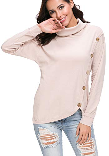 Women's Casual Cowl Neck Long Sleeve Winter Tunic Blouse Tee Shirt Tops Apricot XL