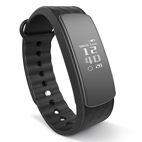 IWOWNFit i6 HR Fitness Tracker Smart Bracelet with Dynamic Heart Rate Monitor Deep/Light Sleep Tracking ,Call,Text&Calendar Alerts Calories Steps Track Waterproof Wristband for Android and iOS( Black)
