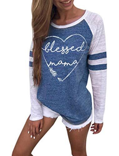 Hauts Imprime Rond Blouse Jumpers Shirts Tops Shirts Bleu2 Sweat Automne Fashion Longues Printemps Col et Tees Femmes Manches T Chandail Patchwork Pulls 46BExq