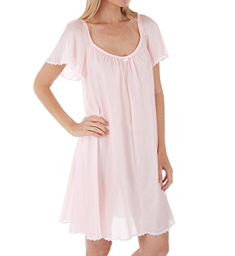 Amanda Rich Short Sleeve Knee Length Nightgown (146-SH) XL/Light Pink Amanda Knee Length Nightgown
