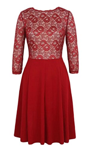 Lace 4 Mini Women's Party Red 3 Dress Line Sleeve A Jaycargogo Cocktail Floral vnadxHH