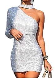 Women's Backless One Shoulder Sequin Mini Dresses