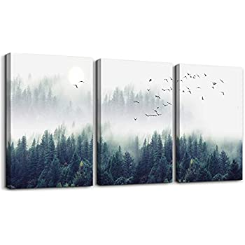 3 Piece Canvas Wall Art for Living Room - Misty Forests of Evergreen Coniferous Trees in an Ethereal Landscape - Modern Home Decor Stretched and Framed Ready to Hang - 16