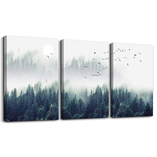 3 Piece Canvas Wall Art for Living Room - Misty Forests of Evergreen Coniferous Trees in an Ethereal Landscape - Modern Home Decor Stretched and Framed Ready to Hang - 12