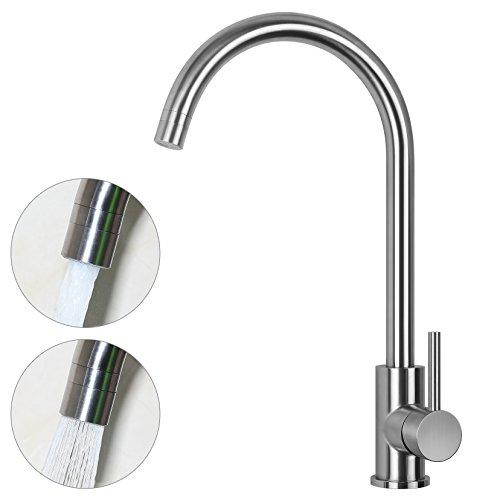 JZBRAIN Bar Sink Faucet Stainless Steel High Arch Gooseneck 360 Degree Swivel Spout Hot and Cold Water Kitchen Sink Faucet Single Lever Handle Deck Mount Dual-function Nozzle (Deck Gooseneck Nozzle Faucet Mount)