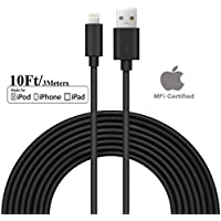 [Apple MFi Certified] SEGMOI 10Ft/3M Extra Long Lightning To USB Charger Cable Data Sync Charging Cord for Apple iPhone X 8 7 6 6s Plus 5s 5c 5 iPad 3 4 Mini Air Pro iPod (Black)