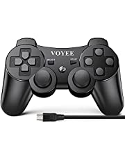 VOYEE Wireless Controller Compatible with PS3 Controller, Enhanced Move/Motion Gamepad with Upgraded Joystick, Double Shock Compatible with Playstation 3 (Black)