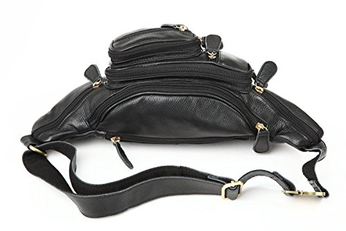 Polare Men's Natural Leather Fanny Pack Waist Bag Black Large by Polare (Image #6)