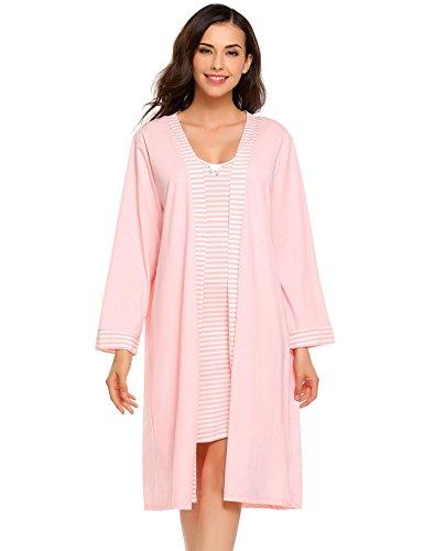 Ekouaer Women Loungewear Robe 2Pc Sleepwear Sets,Pink,S=US(0-2)