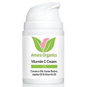 Amara Organics Vitamin C Cream for Face with Coconut Oil, Cocoa Butter & Jojoba Oil, 1.7 fl. oz.