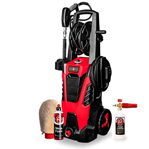 Adam's Pressure Washer - Includes Snub Nose Extension Wand & 5 Different Tips @ 2400 PSI 1.5 GPM - Easily Attach A Foam Cannon for A Powerful Wash (Mega Car Wash Kit)