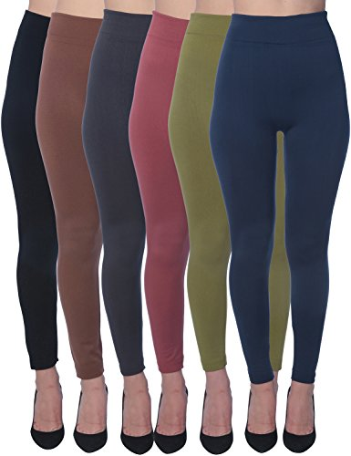 Active Club Women's Fleece Lined Leggings - Seamless High Waisted soft Brushed,2X/3X,Black/Navy/Dk Grey/Olive/Rose/Brown (Womens Xxl Leggings)