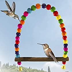 SunGrow Hummingbird Swing Perch, 8.5-inches (Heigth) 6-inches (Length), Wooden Dowel Makes for Perfect Resting Spot, Colorful Beads