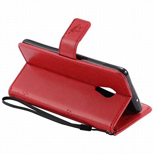 Custodia Lenovo ZUK Z2 Pro Cover Case, Ougger Alberi Gatto Printing Portafoglio PU Pelle Magnetico Stand Morbido Silicone Flip Bumper Protettivo Gomma Shell Borsa Custodie con Slot per Schede (Rosso)
