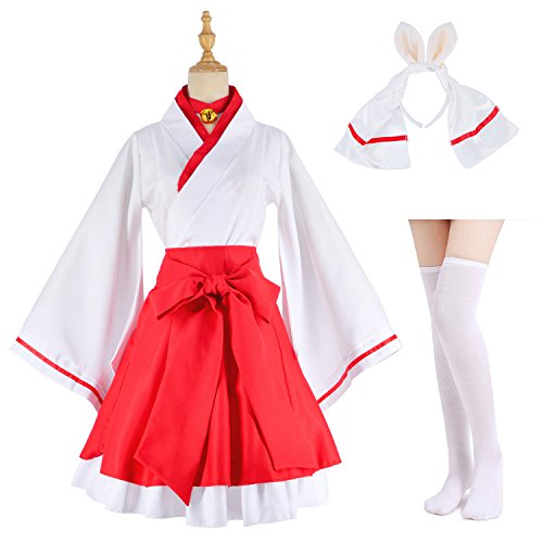 Japanese Anime red and White Kimono Fox Cosplay Costume with Socks Size L(Asia XL) ()