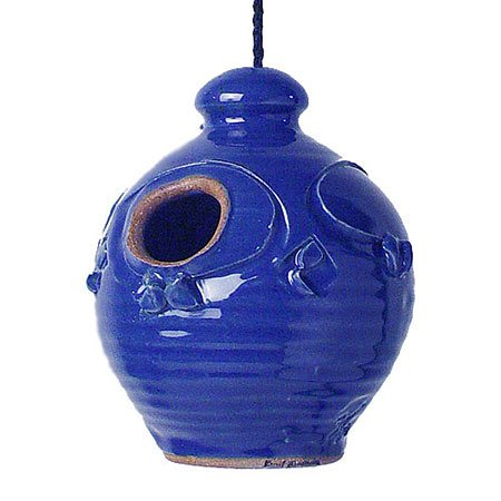 Stoneware Bird - Stoneware Nesting Jar Hanging Birdhouse / Color = Royal Blue
