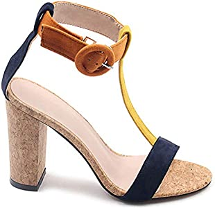 JF shoes Women's Summer T Shaped Wood Tone Buckle Block
