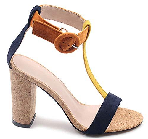441f9ab16f Women's Summer T-Shaped Wood-Tone Buckle Block Suede Open Toe Heel Pump  Sandals