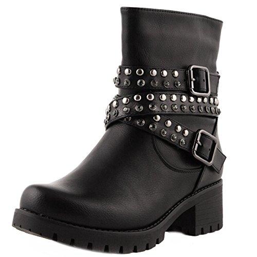 Toocool - Stivali donna bassi biker boots motociclista borchie strass  fibbia nuovi KL-102  41 fccce424785