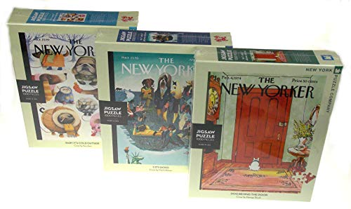 Baby It's Cold Outside, Dog Behind The Door & City Dogs New Yorker Covers 1000 Piece Jigsaw Puzzle Bundle - New York Puzzle Company - New Yorker Cover