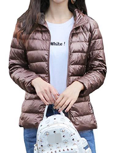 Down Women Size Zip Outwear Khaki Collar Stand Short Pocketed Plus Howme Lightweight dq6axHdz