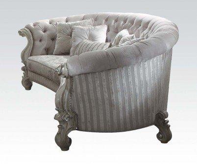 Acme Furniture 52085 Versailles Sofa w/5 Pillows, Ivory Velvet & Bone White