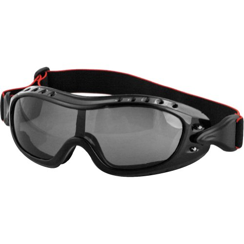 Bobster Night Hawk OTG Adult Harley Touring Motorcycle Goggles Eyewear - Black/Smoke / One Size Fits All