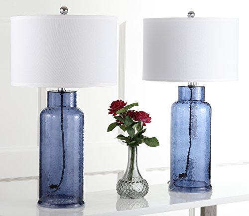 Safavieh Lighting Collection Bottle Glass Blue 29-inch Table Lamp (Set of 2) (Navy Lamps)