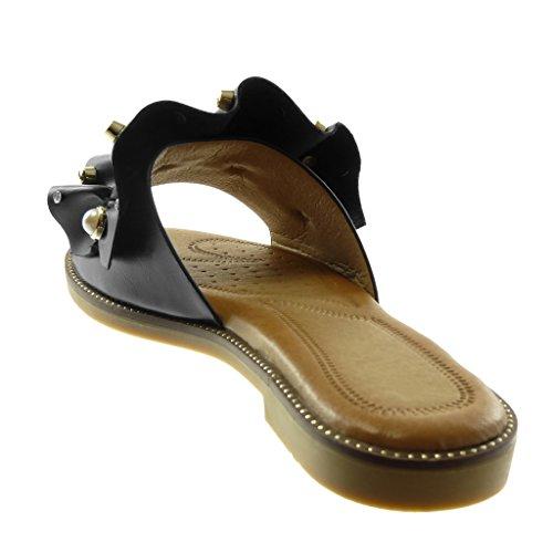 Angkorly Zapatillas Moda Sandalias Mules Slip-On Mujer con Volante Joyas Perla Tacón Ancho 1.5 cm Negro