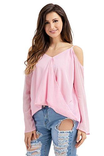New lilla freddo spalla sovrapposizione V collo manica lunga da donna estate camicia top casual Wear taglia UK 8EU 36
