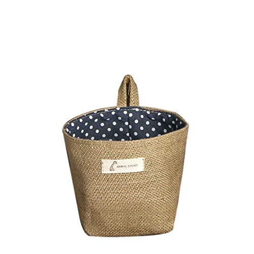 Elevin(TM)  Polka Dot Small Storage Sack Cloth Hanging Non Woven Storage Basket (A)