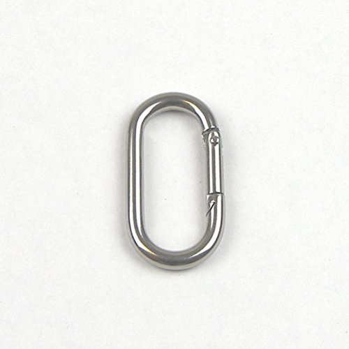 Stainless Steel T316 Oval Straight Snap Hook - Oblong Carabiner Clip - 1/4