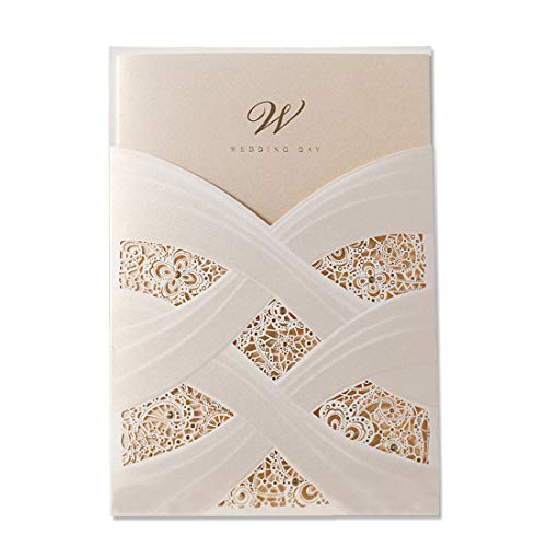 WISHMADE Laser Cut Wedding Invitations Cards Kit Ivory Glitter Bridal Shower Invite with 5x7 White Envelopes Lace Sleeve Pocket Cardstock Jofanza Produced by WISHMADE -