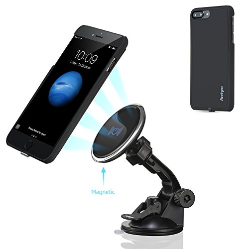 Wireless Car Charger for iPhone 7 PLUS, Antye Magnetic Wireless Qi Charging Mount Cradle Dashboard Suction Cup Holder, with Flexible Wireless Charging Receiver Case Matte Finish Back Cover, Black