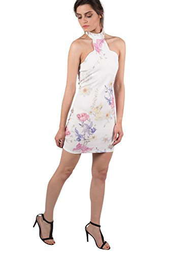 Pilot impresión floral alta del cuello halter mini vestido bodycon crema