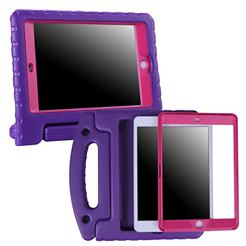 HDE iPad 2017 9.7-inch Bumper Case for Kids Shockproof Hard Cover Handle Stand with Built in Screen Protector for 5th Generation Apple iPad 9.7 inch (Purple & Pink, March 2017 Release)