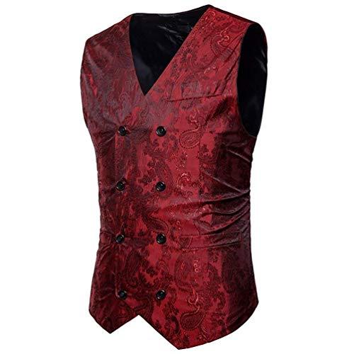 Fit Doppio Sposa Vest Petto Jacquard Rot Uomo Paisley Vintage Gilet Elegante Slim Da Blazer C0qWwP