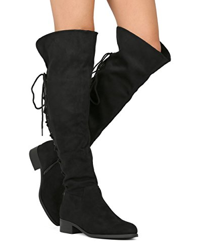 Women's Over The Knee Boots Back Corset Lace Up Fold Cuff Back Tie Flat Knee High Dress Riding Boots Black 7