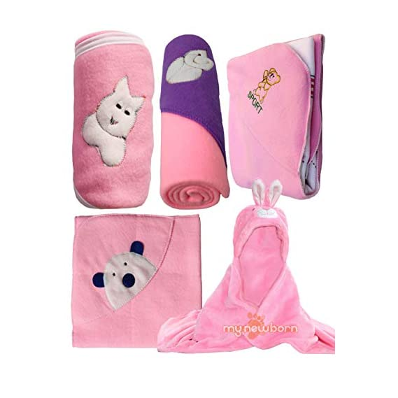 My NewBorn Baby Fleece Blanket Gift Set (Baby Pink, 0-9 Months) - Set of 5
