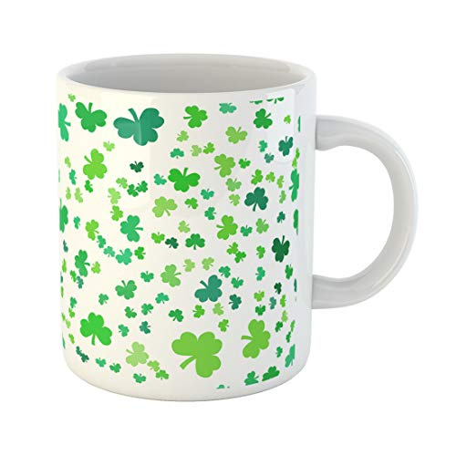Semtomn Funny Coffee Mug Abstract St Patrick Day Clover Green Celebration Celtic Culture Floral 11 Oz Ceramic Coffee Mugs Tea Cup Best Gift Or -