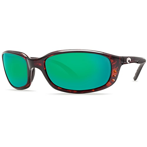 Costa Brine Polarized Sunglasses - Costa 400 Glass Lens Tortoise/Green Mirror, One - Sunglasses Brine