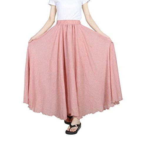 Evedaily Femme Jupe Longue Taille Haute Pliss Taille lastique en Coton Lin Long Skirt Rose Clair