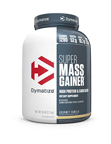 Dymatize Super Mass Gainer Protein Powder with 1280 Calories Per Serving, Gain Strength & Size Quickly, Gourmet Vanilla, 6 lbs (Best Protein For Women Muscle Gain)