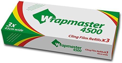 3x Frischhaltefolie Nachfüllrollen für Wrapmaster, 45 cm - 300 lfm