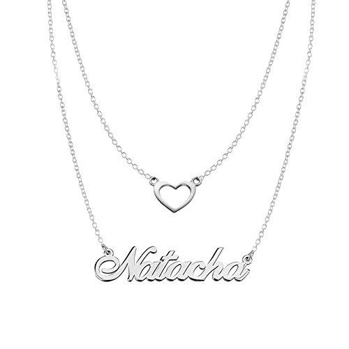 Ouslier 925 Sterling Silver Personalized Double Chain Name Necklace with Heart Pendant Custom Made with One Name (Silver) ()