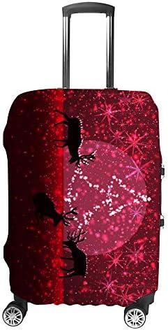 スーツケースカバー トラベルケース 荷物カバー 弾性素材 傷を防ぐ ほこりや汚れを防ぐ 個性 出張 男性と女性鹿の誇りのシルエットと雪に覆われた冬の夜