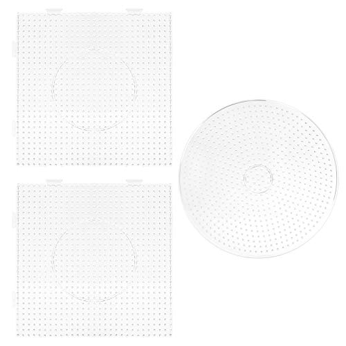 LIHAO 3X Fuse Beads Pegboard, Square & Round Plastic Pegboards for Kids Crafts