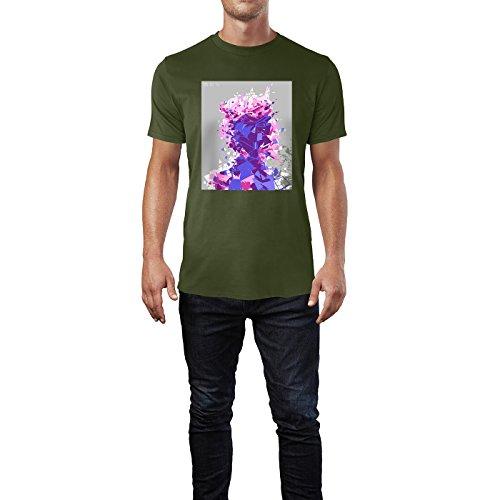 SINUS ART® Abstraktes Portrait in Rückenansicht Herren T-Shirts in Armee Grün Fun Shirt mit tollen Aufdruck