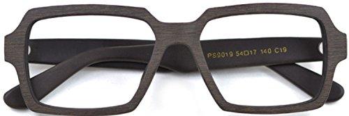 J&L Glasses Fashion Large Frame Wooden Unisex Glasses Frame (Brown, ()